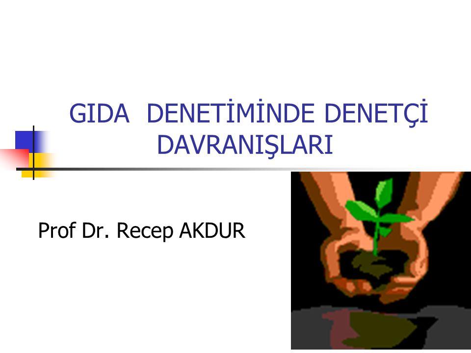 GIDA DENETİMİNDE DENETÇİ DAVRANIŞLARI Prof Dr. Recep AKDUR
