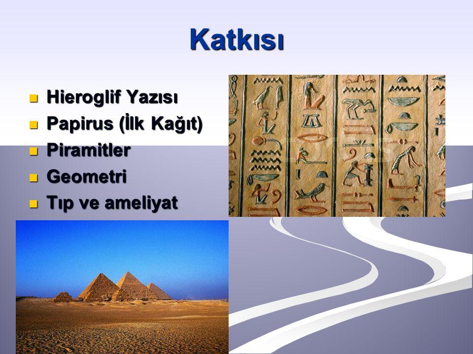 Hieroglif Yazısı Hieroglif Yazısı Papirus (İlk Kağıt) Papirus (İlk Kağıt) Piramitler Piramitler Geometri Geometri Tıp ve ameliyat Tıp ve ameliyat Katkısı