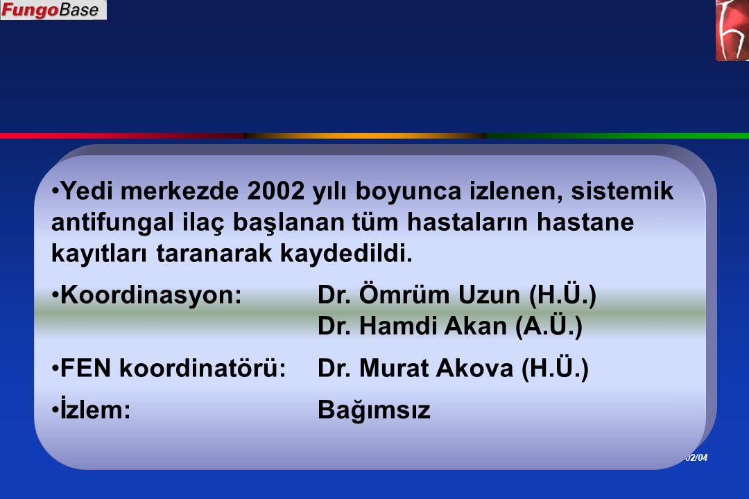 ÖU 02/04 Yedi merkezde 2002 yılı boyunca izlenen, sistemik antifungal ilaç başlanan tüm hastaların hastane kayıtları taranarak kaydedildi. Koordinasyo