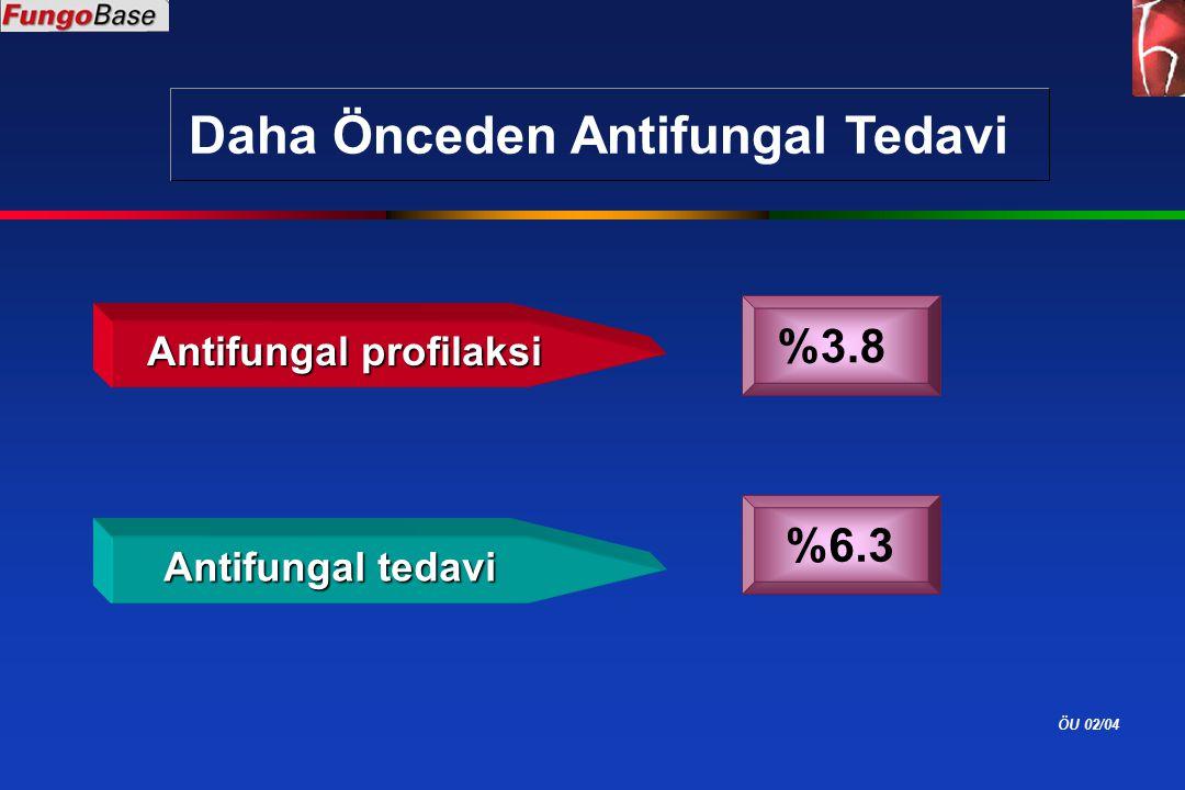 ÖU 02/04 Daha Önceden Antifungal Tedavi Antifungal profilaksi %3.8 Antifungal tedavi %6.3