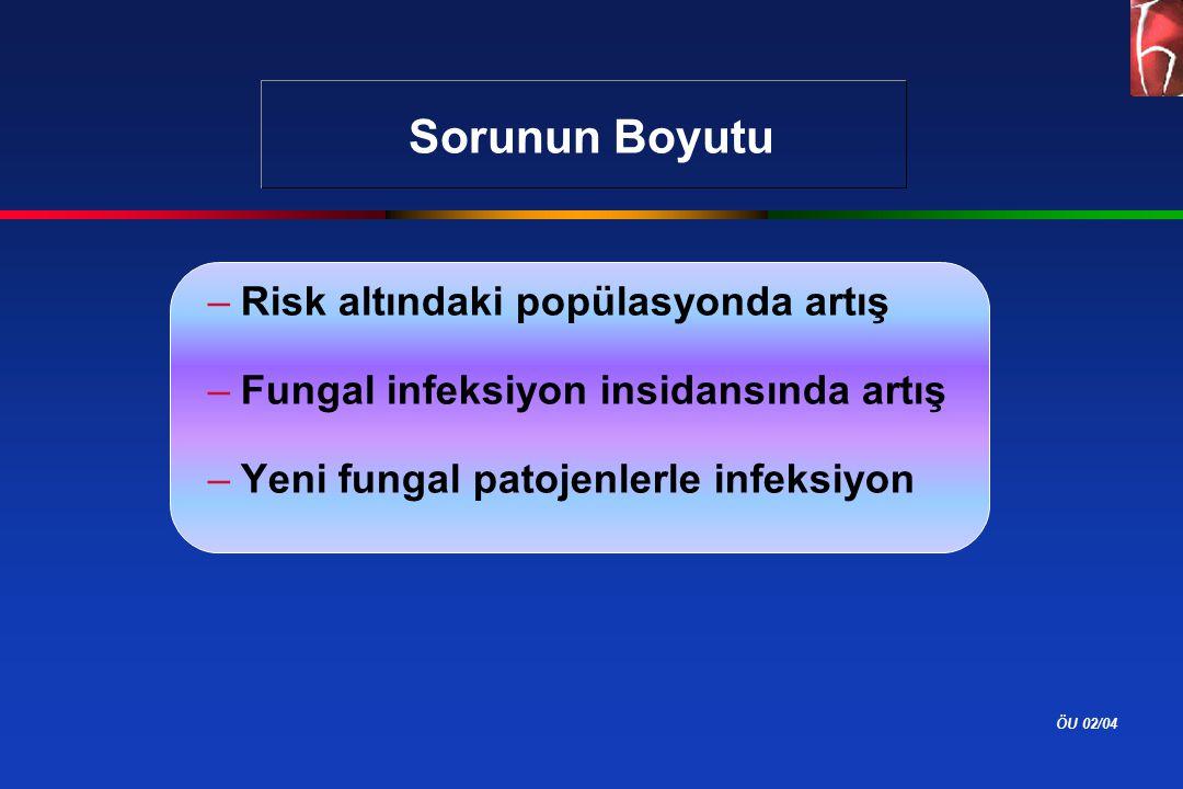 ÖU 02/04 Sorunun Boyutu –Risk altındaki popülasyonda artış –Fungal infeksiyon insidansında artış –Yeni fungal patojenlerle infeksiyon