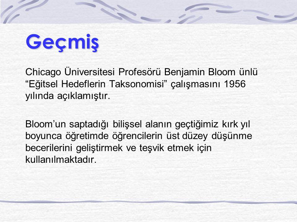 """Geçmiş Chicago Üniversitesi Profesörü Benjamin Bloom ünlü """"Eğitsel Hedeflerin Taksonomisi"""" çalışmasını 1956 yılında açıklamıştır. Bloom'un saptadığı b"""
