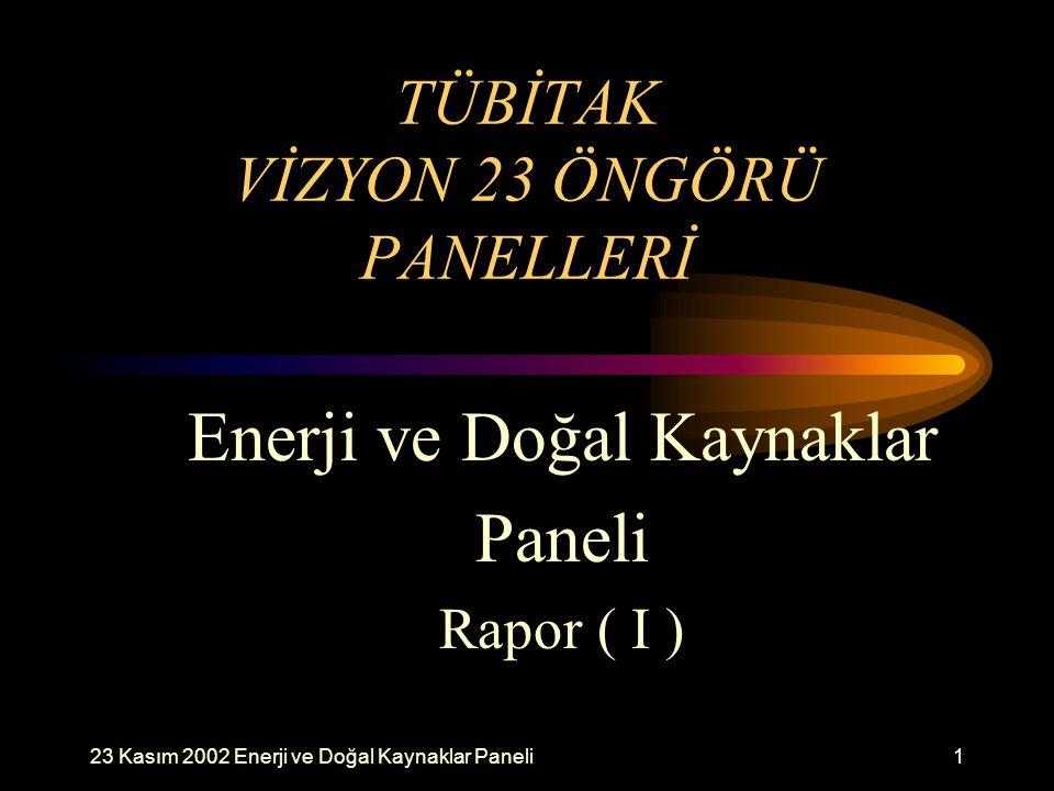 23 Kasım 2002 Enerji ve Doğal Kaynaklar Paneli1 TÜBİTAK VİZYON 23 ÖNGÖRÜ PANELLERİ Enerji ve Doğal Kaynaklar Paneli Rapor ( I )