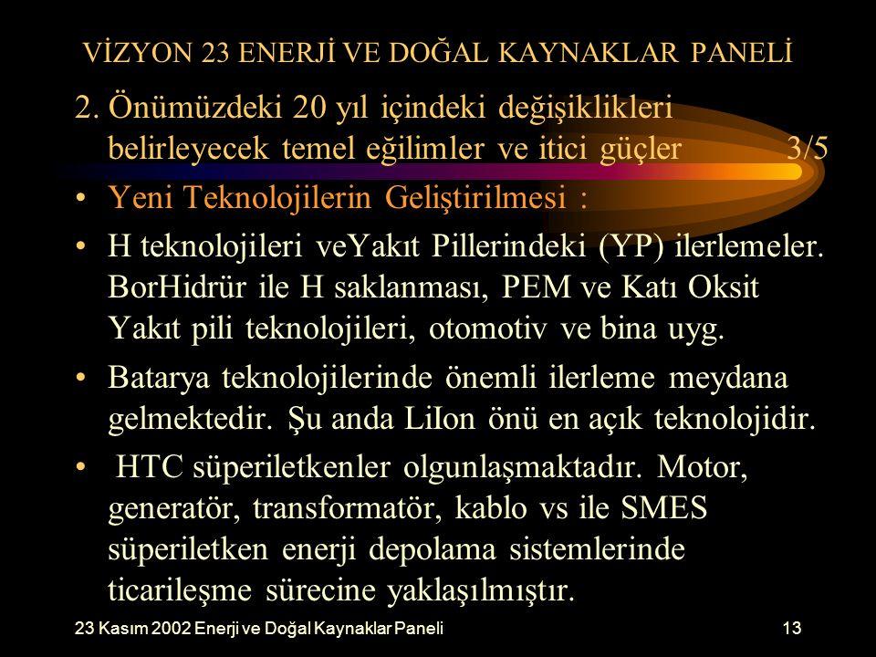 23 Kasım 2002 Enerji ve Doğal Kaynaklar Paneli13 VİZYON 23 ENERJİ VE DOĞAL KAYNAKLAR PANELİ 2. Önümüzdeki 20 yıl içindeki değişiklikleri belirleyecek