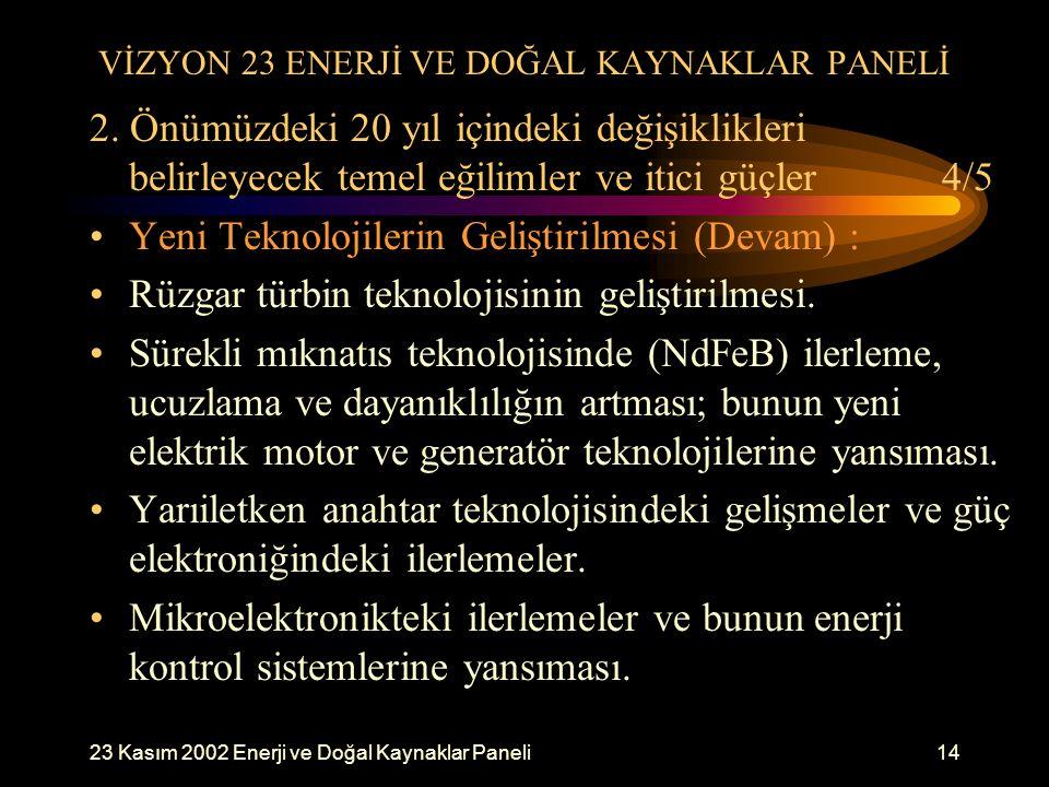 23 Kasım 2002 Enerji ve Doğal Kaynaklar Paneli14 VİZYON 23 ENERJİ VE DOĞAL KAYNAKLAR PANELİ 2. Önümüzdeki 20 yıl içindeki değişiklikleri belirleyecek