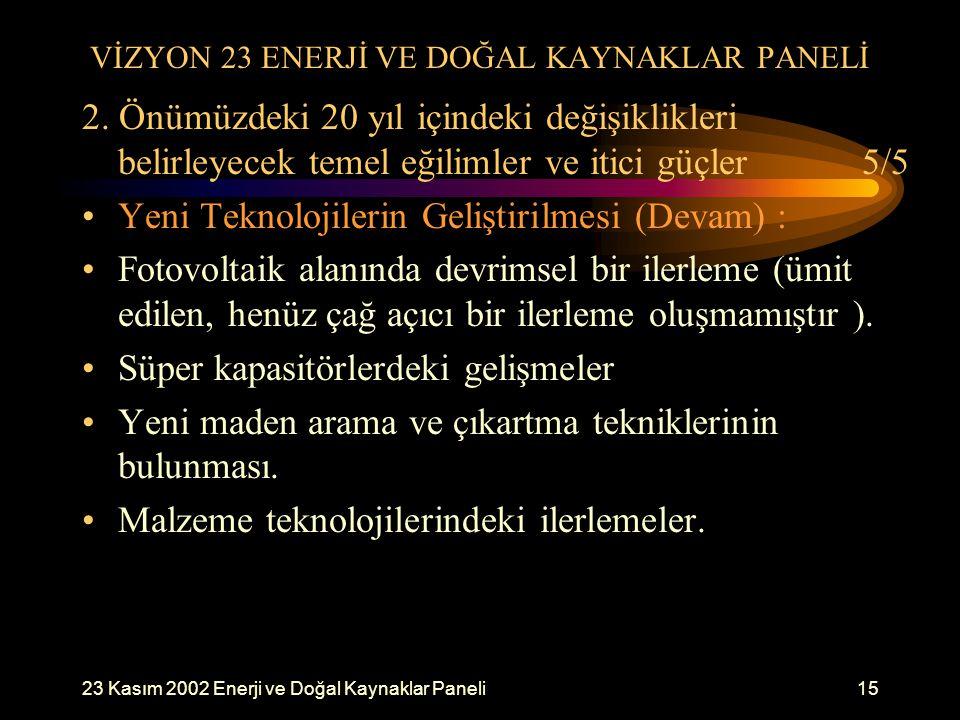 23 Kasım 2002 Enerji ve Doğal Kaynaklar Paneli15 VİZYON 23 ENERJİ VE DOĞAL KAYNAKLAR PANELİ 2. Önümüzdeki 20 yıl içindeki değişiklikleri belirleyecek