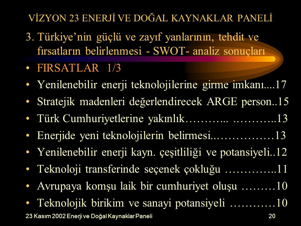 23 Kasım 2002 Enerji ve Doğal Kaynaklar Paneli20 VİZYON 23 ENERJİ VE DOĞAL KAYNAKLAR PANELİ 3. Türkiye'nin güçlü ve zayıf yanlarının, tehdit ve fırsat
