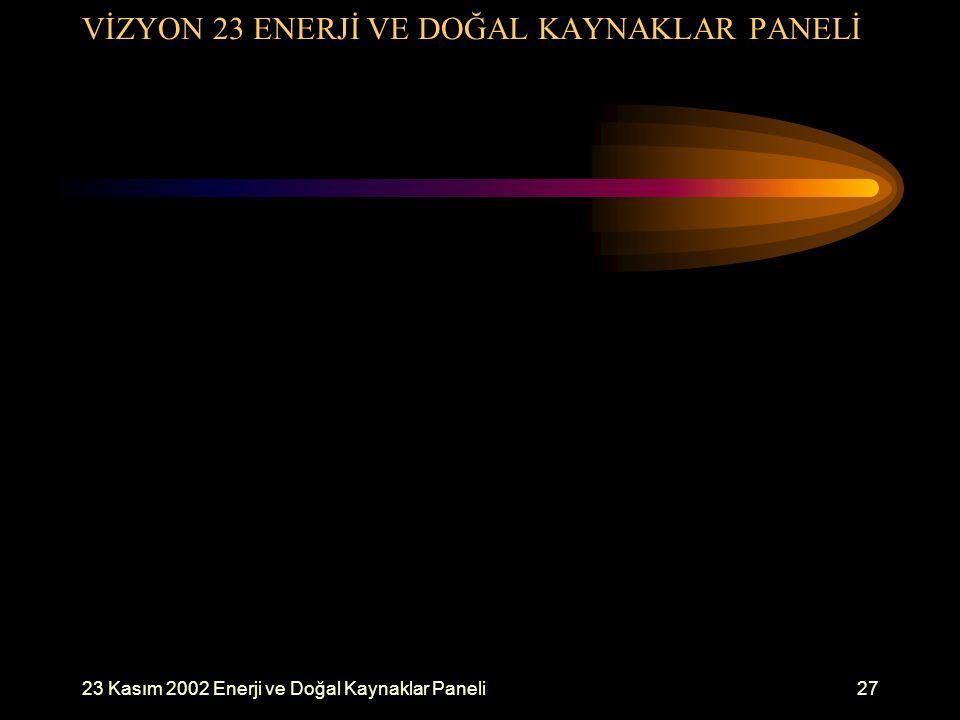 23 Kasım 2002 Enerji ve Doğal Kaynaklar Paneli27 VİZYON 23 ENERJİ VE DOĞAL KAYNAKLAR PANELİ