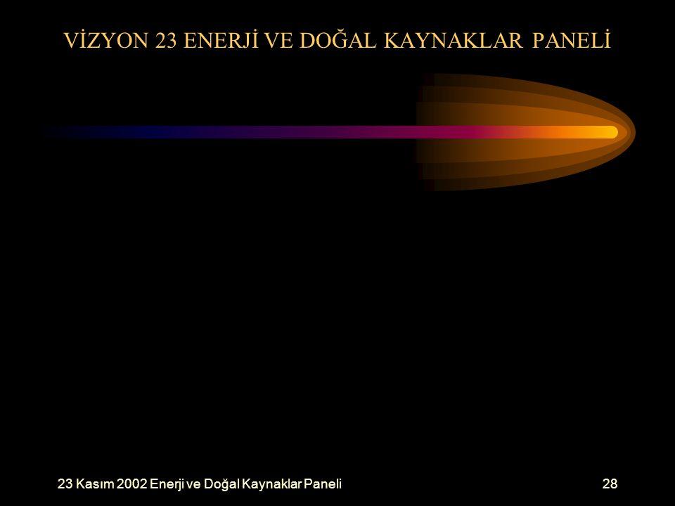 23 Kasım 2002 Enerji ve Doğal Kaynaklar Paneli28 VİZYON 23 ENERJİ VE DOĞAL KAYNAKLAR PANELİ