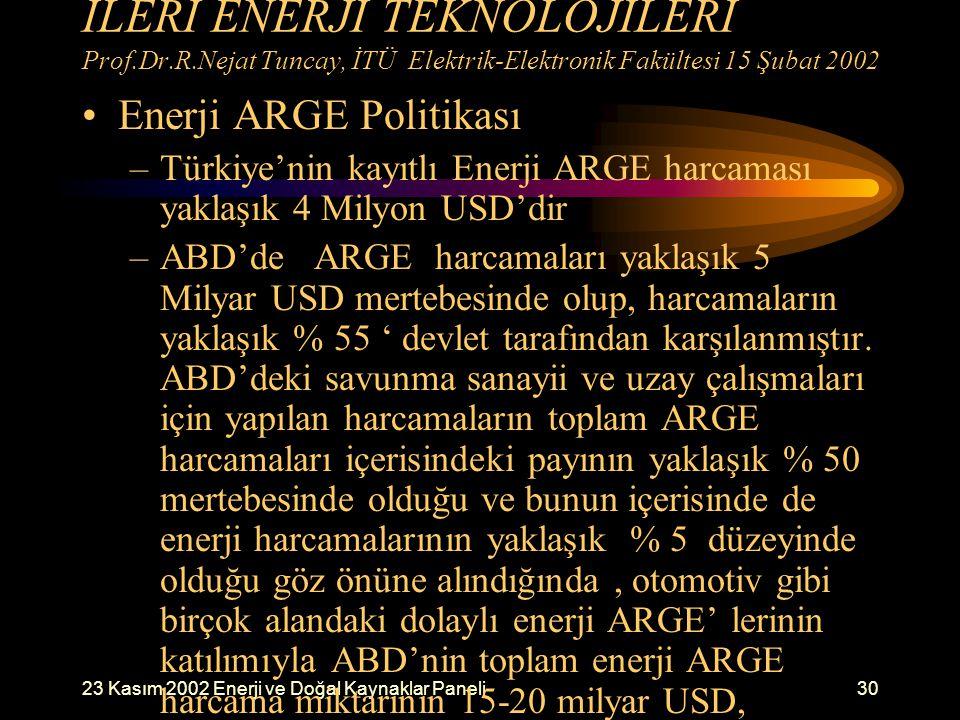 23 Kasım 2002 Enerji ve Doğal Kaynaklar Paneli30 İLERİ ENERJİ TEKNOLOJİLERİ Prof.Dr.R.Nejat Tuncay, İTÜ Elektrik-Elektronik Fakültesi 15 Şubat 2002 En