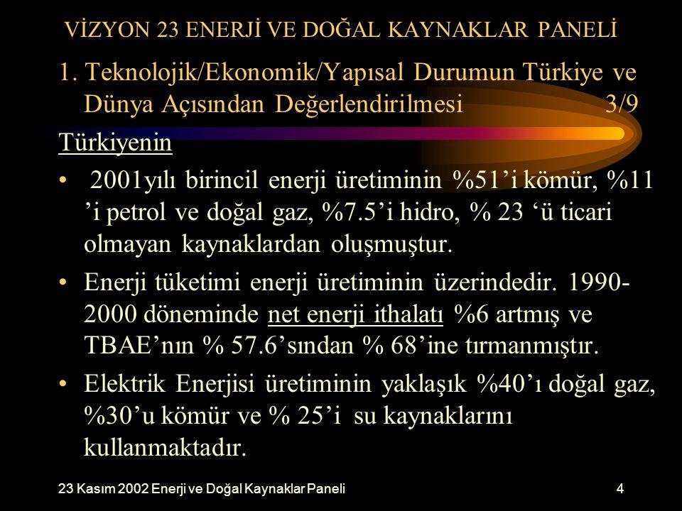 23 Kasım 2002 Enerji ve Doğal Kaynaklar Paneli4 VİZYON 23 ENERJİ VE DOĞAL KAYNAKLAR PANELİ 1. Teknolojik/Ekonomik/Yapısal Durumun Türkiye ve Dünya Açı
