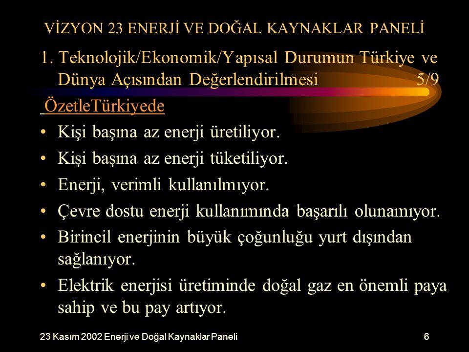 23 Kasım 2002 Enerji ve Doğal Kaynaklar Paneli6 VİZYON 23 ENERJİ VE DOĞAL KAYNAKLAR PANELİ 1. Teknolojik/Ekonomik/Yapısal Durumun Türkiye ve Dünya Açı
