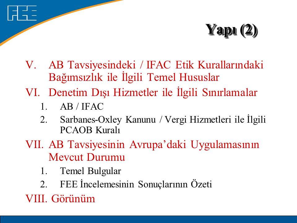 V.AB Tavsiyesindeki / IFAC Etik Kurallarındaki Bağımsızlık ile İlgili Temel Hususlar VI.Denetim Dışı Hizmetler ile İlgili Sınırlamalar 1.AB / IFAC 2.S