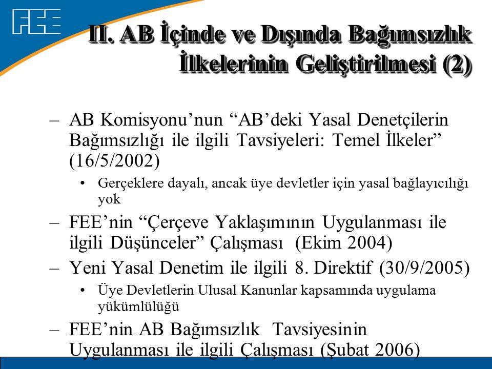 """–AB Komisyonu'nun """"AB'deki Yasal Denetçilerin Bağımsızlığı ile ilgili Tavsiyeleri: Temel İlkeler"""" (16/5/2002) Gerçeklere dayalı, ancak üye devletler i"""