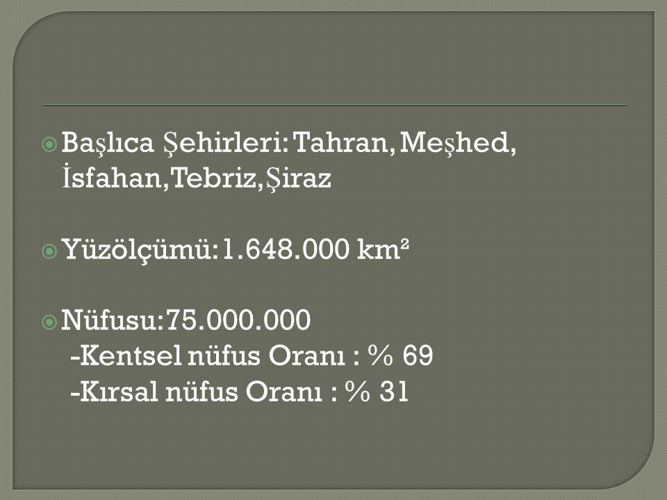  Ba ş lıca Ş ehirleri: Tahran, Me ş hed, İ sfahan,Tebriz, Ş iraz  Yüzölçümü:1.648.000 km²  Nüfusu:75.000.000 -Kentsel nüfus Oranı : % 69 -Kırsal nüfus Oranı : % 31