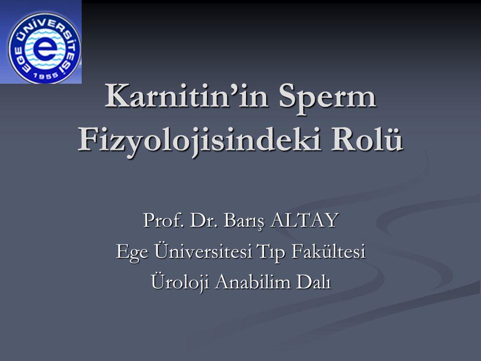 Karnitin'in Sperm Fizyolojisindeki Rolü Prof. Dr. Barış ALTAY Ege Üniversitesi Tıp Fakültesi Üroloji Anabilim Dalı