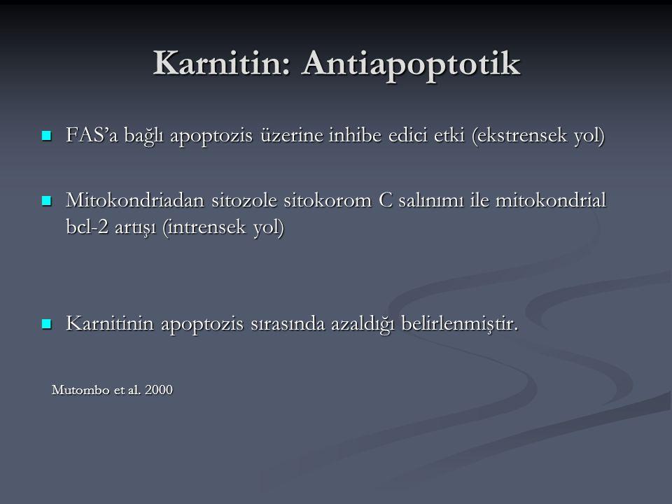 Karnitin: Antiapoptotik FAS'a bağlı apoptozis üzerine inhibe edici etki (ekstrensek yol) FAS'a bağlı apoptozis üzerine inhibe edici etki (ekstrensek y