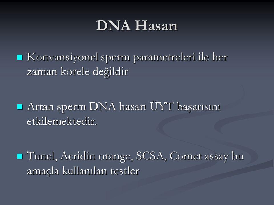 DNA Hasarı Konvansiyonel sperm parametreleri ile her zaman korele değildir Konvansiyonel sperm parametreleri ile her zaman korele değildir Artan sperm