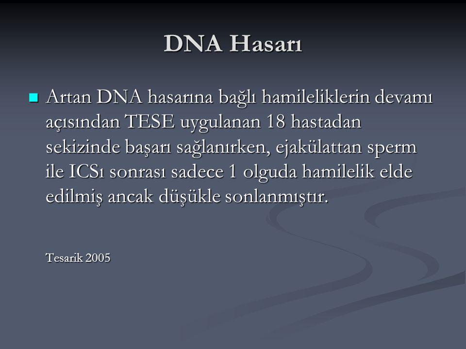DNA Hasarı Artan DNA hasarına bağlı hamileliklerin devamı açısından TESE uygulanan 18 hastadan sekizinde başarı sağlanırken, ejakülattan sperm ile ICS