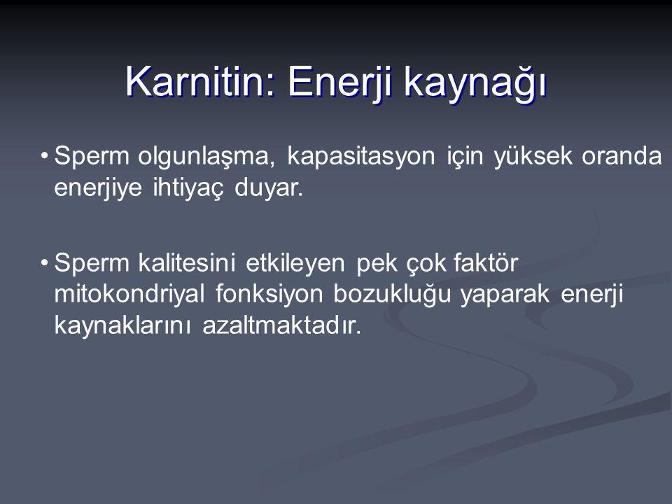 Karnitin: Enerji kaynağı Sperm olgunlaşma, kapasitasyon için yüksek oranda enerjiye ihtiyaç duyar. Sperm kalitesini etkileyen pek çok faktör mitokondr
