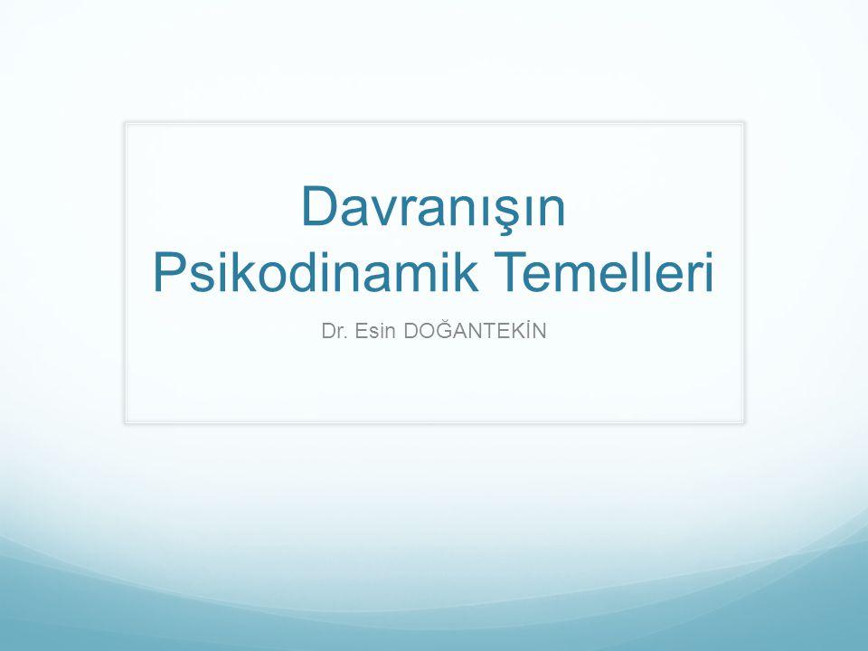 Dersin Kazanımları 1.Psikodinamik kuram ve özellikleri 2.