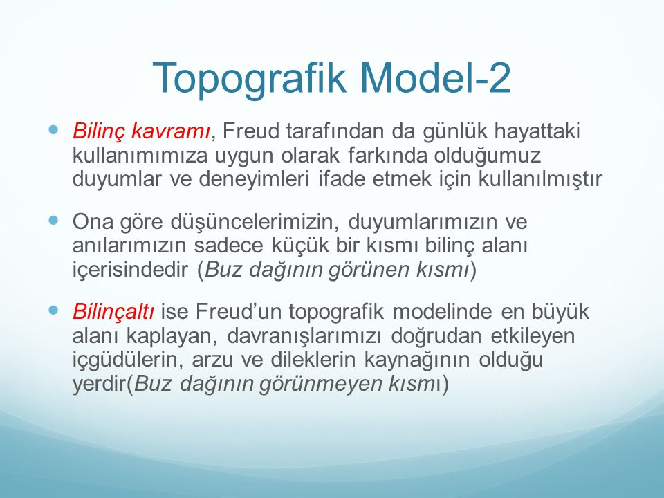 Topografik Model-2 Bilinç kavramı, Freud tarafından da günlük hayattaki kullanımımıza uygun olarak farkında olduğumuz duyumlar ve deneyimleri ifade et