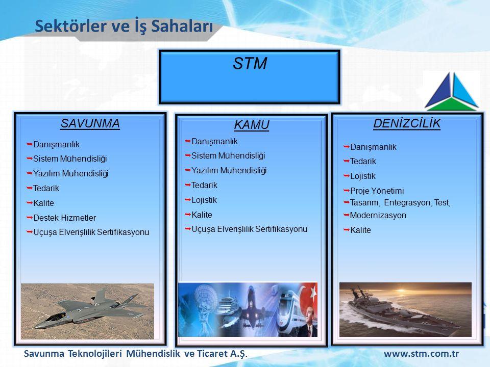Savunma Teknolojileri Mühendislik ve Ticaret A.Ş.www.stm.com.tr Sektörler ve İş Sahaları STM SAVUNMA  Danışmanlık  Sistem Mühendisliği  Yazılım Mühendisliği  Tedarik  Kalite  Destek Hizmetler  Uçuşa Elverişlilik Sertifikasyonu KAMU  Danışmanlık  Sistem Mühendisliği  Yazılım Mühendisliği  Tedarik  Lojistik  Kalite  Uçuşa Elverişlilik Sertifikasyonu DENİZCİLİK  Danışmanlık  Tedarik  Lojistik  Proje Yönetimi  Tasarım, Entegrasyon, Test,  Modernizasyon  Kalite