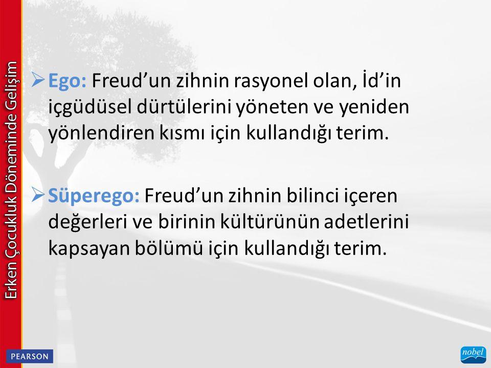  Ego: Freud'un zihnin rasyonel olan, İd'in içgüdüsel dürtülerini yöneten ve yeniden yönlendiren kısmı için kullandığı terim.  Süperego: Freud'un zih