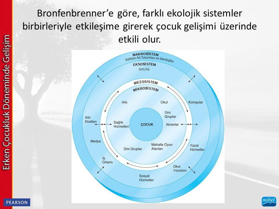 Bronfenbrenner'e göre, farklı ekolojik sistemler birbirleriyle etkileşime girerek çocuk gelişimi üzerinde etkili olur.