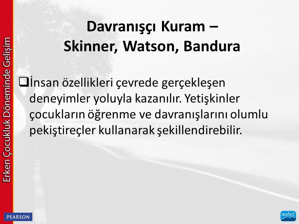Davranışçı Kuram – Skinner, Watson, Bandura  İnsan özellikleri çevrede gerçekleşen deneyimler yoluyla kazanılır. Yetişkinler çocukların öğrenme ve da