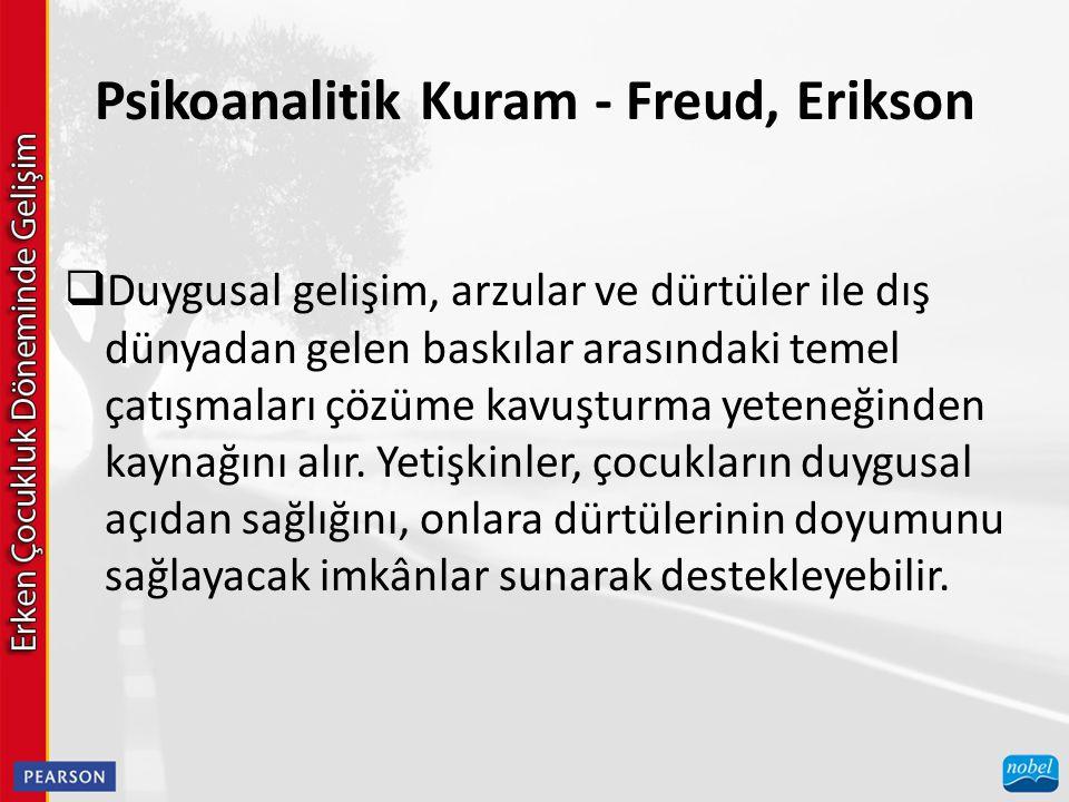 Psikoanalitik Kuram - Freud, Erikson  Duygusal gelişim, arzular ve dürtüler ile dış dünyadan gelen baskılar arasındaki temel çatışmaları çözüme kavuş