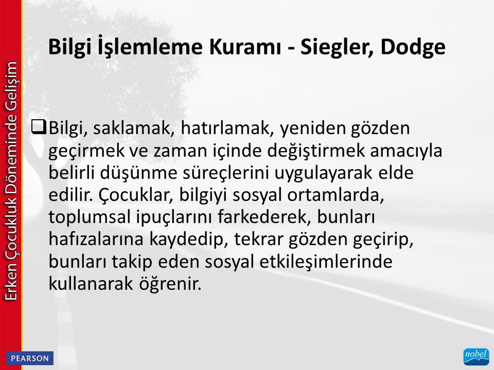 Bilgi İşlemleme Kuramı - Siegler, Dodge  Bilgi, saklamak, hatırlamak, yeniden gözden geçirmek ve zaman içinde değiştirmek amacıyla belirli düşünme sü