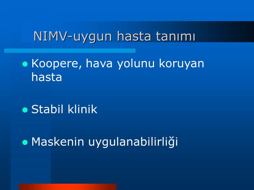 NIMV-uygun hasta tanımı Koopere, hava yolunu koruyan hasta Stabil klinik Maskenin uygulanabilirliği