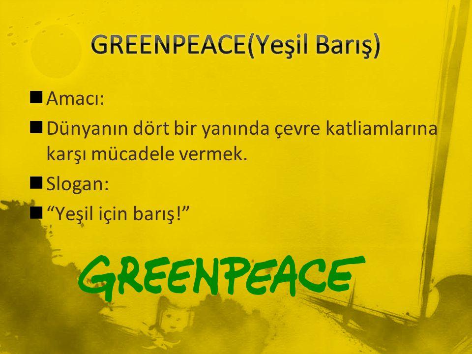 """Amacı: Dünyanın dört bir yanında çevre katliamlarına karşı mücadele vermek. Slogan: """"Yeşil için barış!"""""""