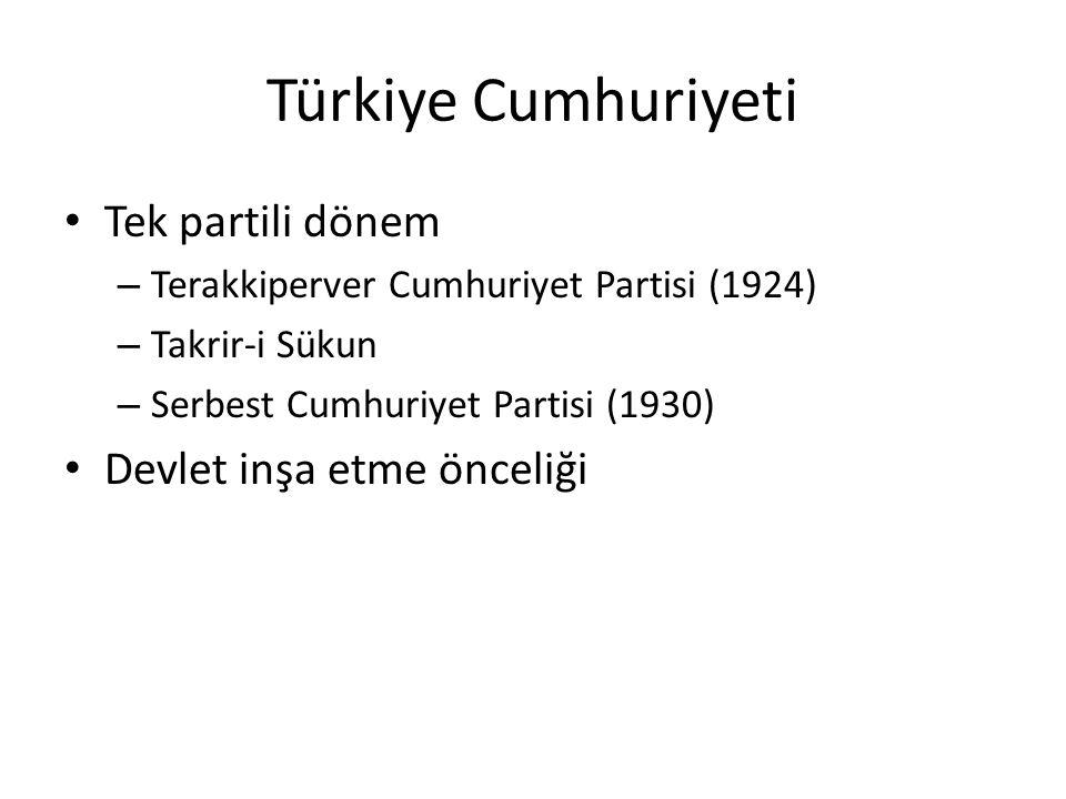 Türkiye Cumhuriyeti Tek partili dönem – Terakkiperver Cumhuriyet Partisi (1924) – Takrir-i Sükun – Serbest Cumhuriyet Partisi (1930) Devlet inşa etme