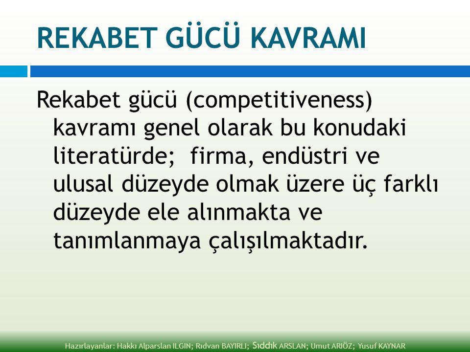 REKABET GÜCÜ KAVRAMI Rekabet gücü (competitiveness) kavramı genel olarak bu konudaki literatürde; firma, endüstri ve ulusal düzeyde olmak üzere üç far