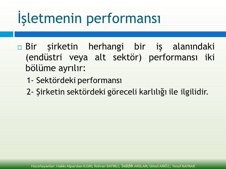 İşletmenin performansı  Bir şirketin herhangi bir iş alanındaki (endüstri veya alt sektör) performansı iki bölüme ayrılır: 1- Sektördeki performansı