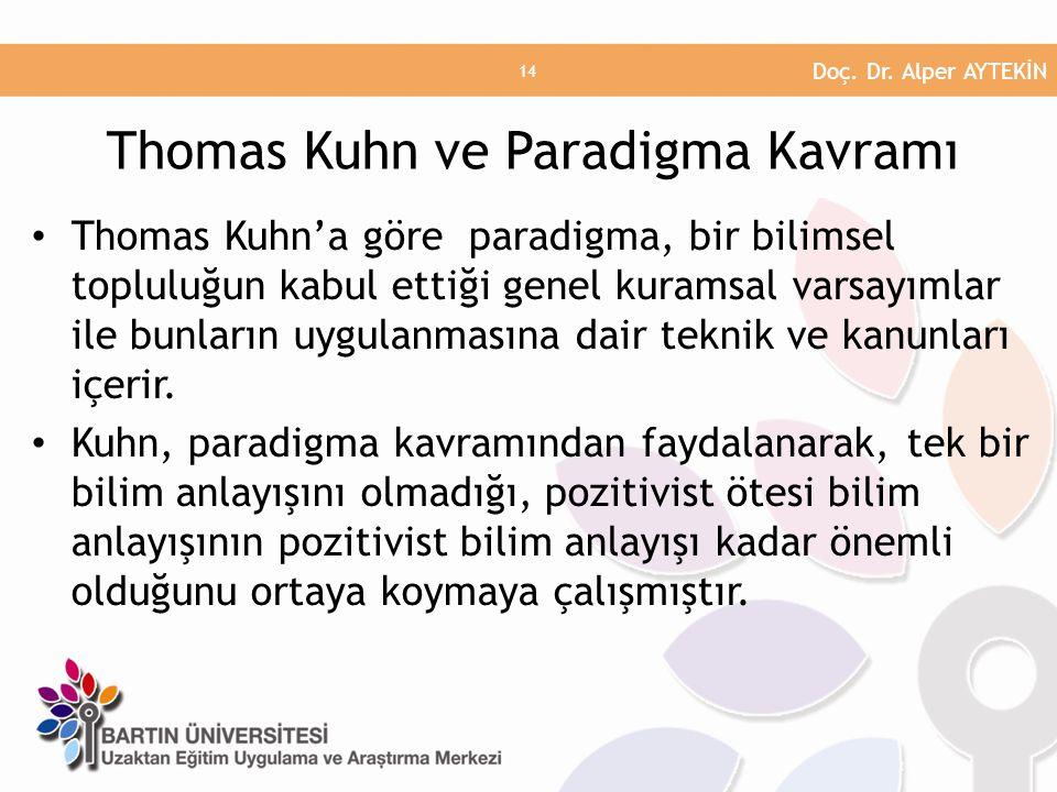Thomas Kuhn'a göre paradigma, bir bilimsel topluluğun kabul ettiği genel kuramsal varsayımlar ile bunların uygulanmasına dair teknik ve kanunları içerir.
