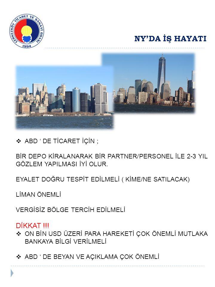 NY'DA İŞ HAYATI  ABD ' DE TİCARET İÇİN ; BİR DEPO KİRALANARAK BİR PARTNER/PERSONEL İLE 2-3 YIL GÖZLEM YAPILMASI İYİ OLUR.