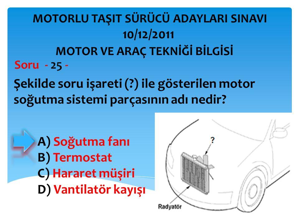 İBRAHİM YALÇIN Şekilde soru işareti (?) ile gösterilen motor soğutma sistemi parçasının adı nedir? Soru - 25 - MOTOR VE ARAÇ TEKNİĞİ BİLGİSİ MOTORLU T