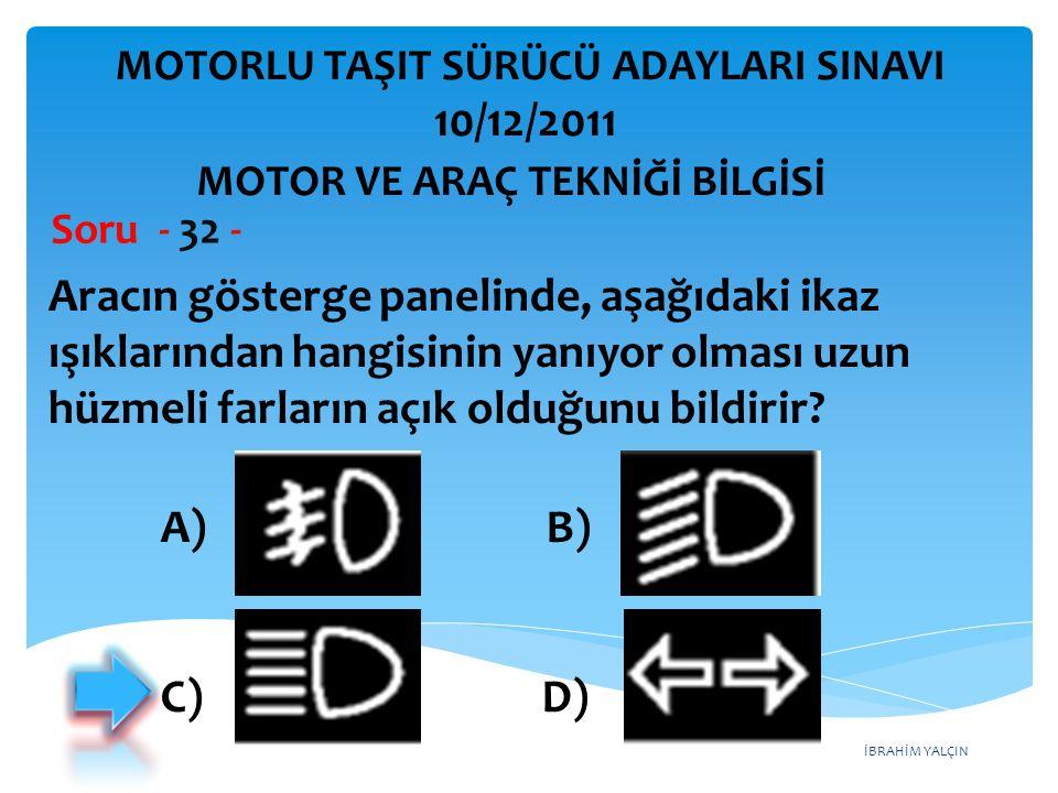 İBRAHİM YALÇIN Aracın gösterge panelinde, aşağıdaki ikaz ışıklarından hangisinin yanıyor olması uzun hüzmeli farların açık olduğunu bildirir? Soru - 3