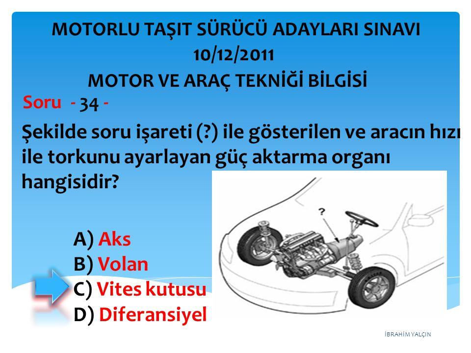 İBRAHİM YALÇIN Şekilde soru işareti (?) ile gösterilen ve aracın hızı ile torkunu ayarlayan güç aktarma organı hangisidir? Soru - 34 - A) Aks B) Volan