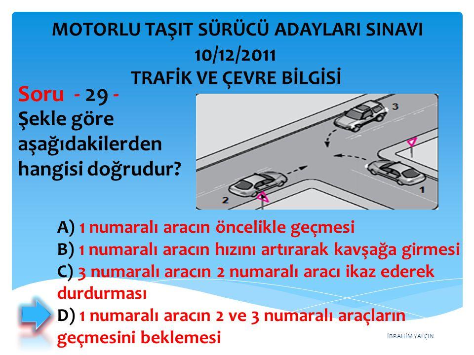 İBRAHİM YALÇIN Şekle göre aşağıdakilerden hangisi doğrudur? Soru - 29 - A) 1 numaralı aracın öncelikle geçmesi B) 1 numaralı aracın hızını artırarak k