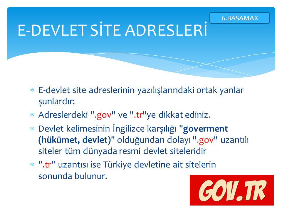  E-devlet site adreslerinin yazılışlarındaki ortak yanlar şunlardır:  Adreslerdeki