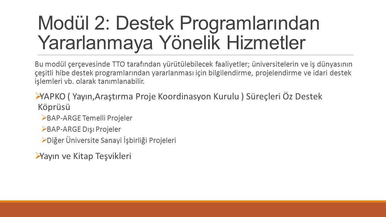Modül 2: Destek Programlarından Yararlanmaya Yönelik Hizmetler Bu modül çerçevesinde TTO tarafından yürütülebilecek faaliyetler; üniversitelerin ve iş