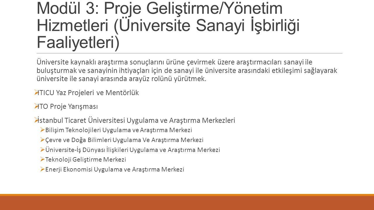 Modül 3: Proje Geliştirme/Yönetim Hizmetleri (Üniversite Sanayi İşbirliği Faaliyetleri) Üniversite kaynaklı araştırma sonuçlarını ürüne çevirmek üzere
