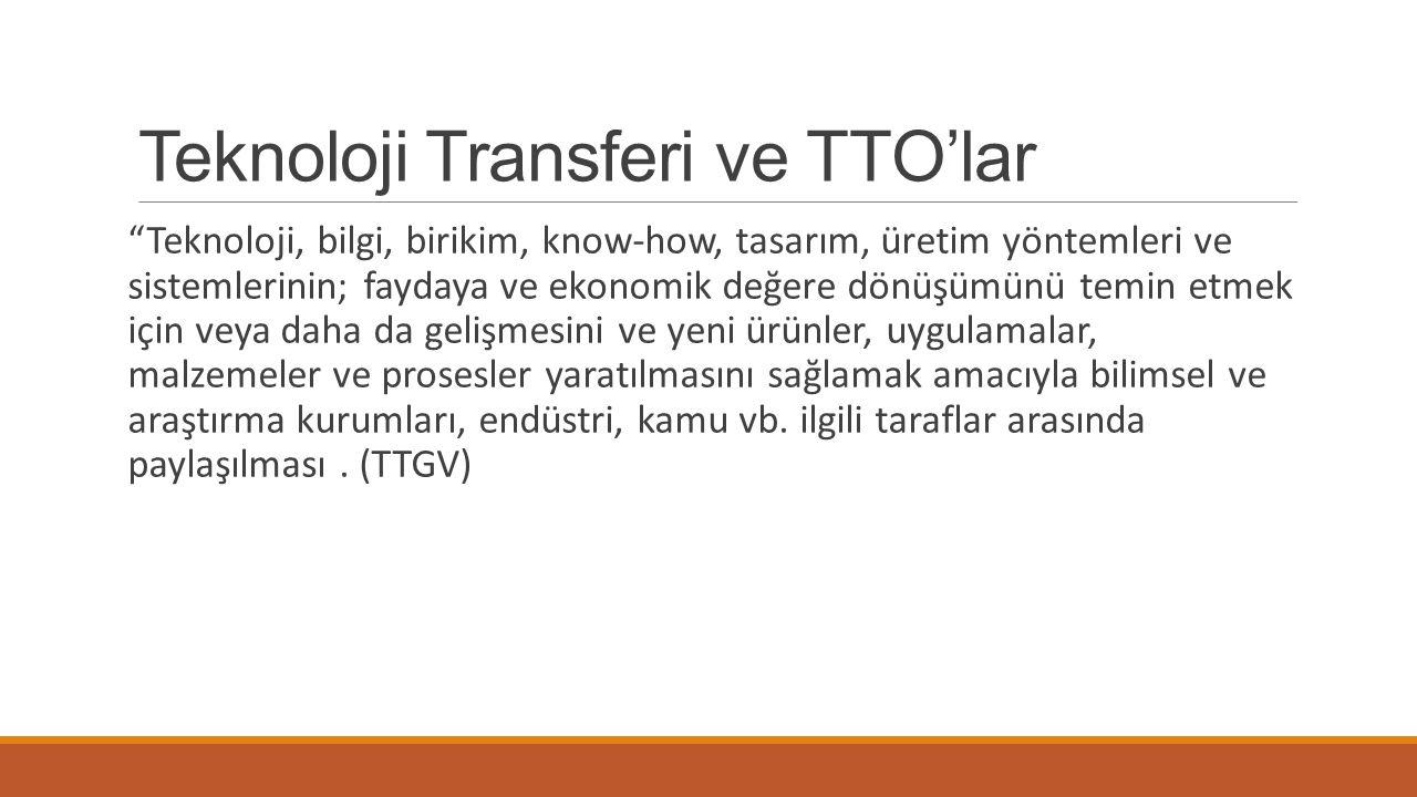 """Teknoloji Transferi ve TTO'lar """"Teknoloji, bilgi, birikim, know-how, tasarım, üretim yöntemleri ve sistemlerinin; faydaya ve ekonomik değere dönüşümün"""