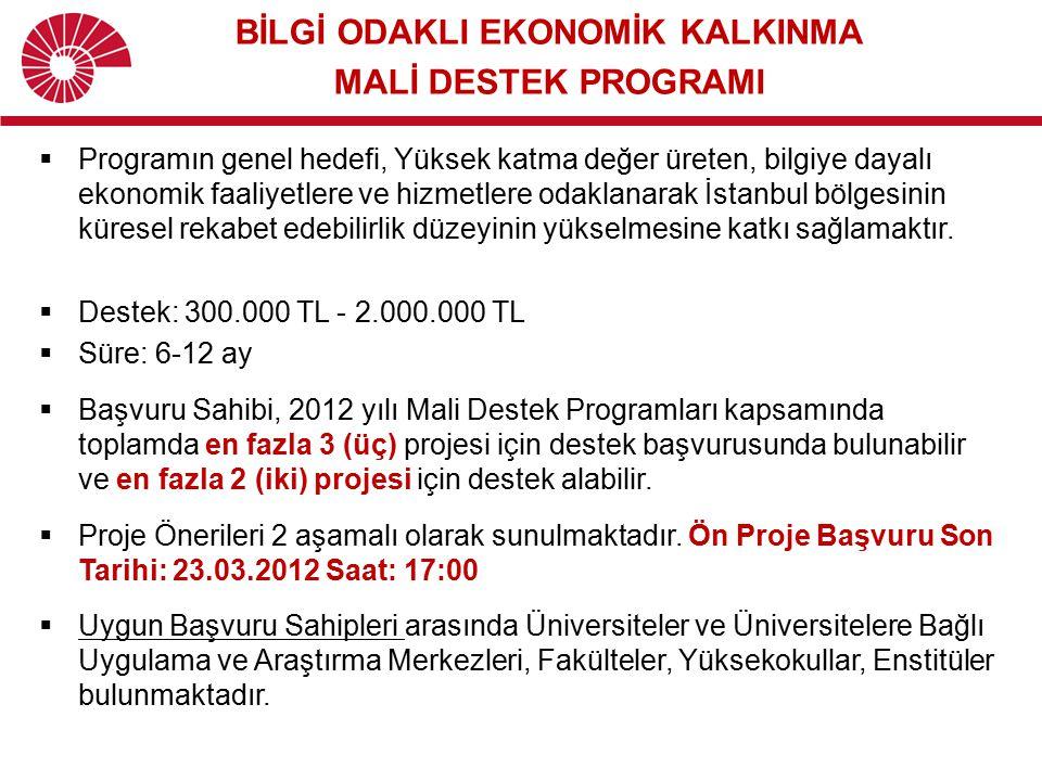  Programın genel hedefi, Yüksek katma değer üreten, bilgiye dayalı ekonomik faaliyetlere ve hizmetlere odaklanarak İstanbul bölgesinin küresel rekabe