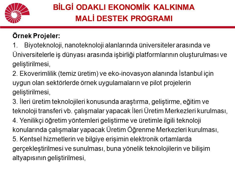 Örnek Projeler: 1.Biyoteknoloji, nanoteknoloji alanlarında üniversiteler arasında ve Üniversitelerle iş dünyası arasında işbirliği platformlarının olu