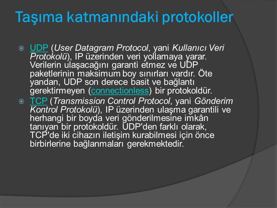 Taşıma katmanındaki protokoller  UDP (User Datagram Protocol, yani Kullanıcı Veri Protokolü), IP üzerinden veri yollamaya yarar. Verilerin ulaşacağın